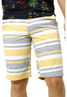 Bermuda Danilo Rasquinho Sarja Listrada - Mr-Br052009 - Amarelo - Masculino - Algodã£O - Dafiti