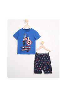 Pijama Infantil De Algodão Capitão América Manga Curta Azul
