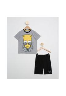 Pijama Infantil Bart Manga Curta Cinza Mescla