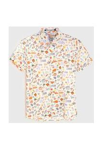 Camisa Colcci Fun Infantil Estampada Slim Off-White/Laranja