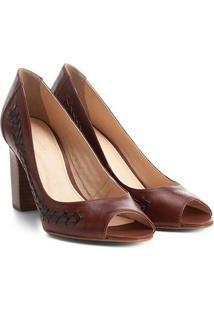 Peep Toe Couro Shoestock Salto Grosso Handmade - Feminino