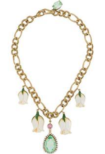 Dolce & Gabbana Colar Com Corrente E Flores - Dourado
