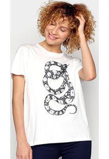 Camiseta Forum Snake Feminina - Feminino-Areia