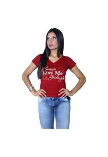 Camiseta Heide Ribeiro Always Kiss Me Goodnight Vinho