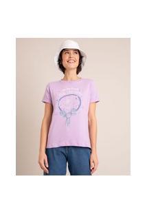 """Camiseta Minnie """"Take Time To Make Your Soul Happy"""" Manga Curta Decote Redondo Lilás"""