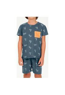 Pijama Infantil Menino Curto Cor Com Amor 66397 Azul
