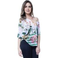 Blusa 101 Resort Wear Tunica Ombro A Ombro Floral Branca 3b279ee6ce148