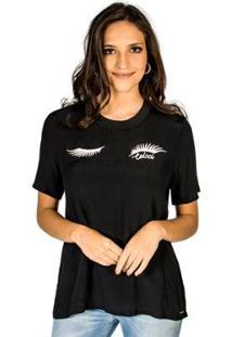 Camiseta Bordada Colcci - Feminino-Preto
