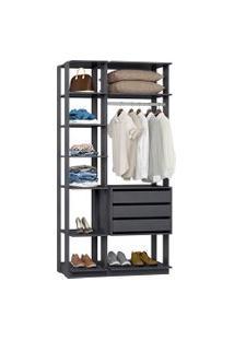 Closet Modulado Be Mobiliário Clothes 3 Gavetas 8 Prateleiras