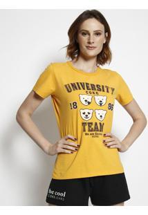 "Camiseta ""University Coke Team"" - Amarela & Preta - Coca-Cola"