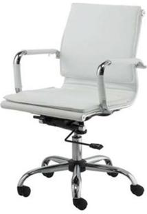 Cadeira Escritorio Eames Top Baixa Branca Base Cromada - 41003 Sun House