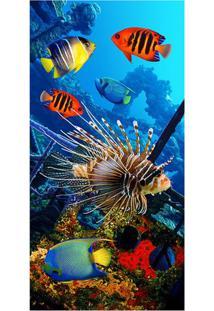 Toalha De Praia Color Fish- Azul & Laranja- 70X150Cmbuettner