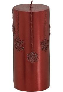 Vela Decorativa Em Relevo- Vermelha- 15Xã˜6,5Cm- Mabruk