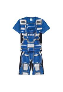 Pijama Infantil Menino Camiseta + Bermuda Kyly Azul