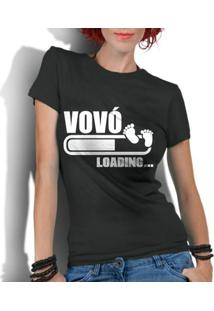 Camiseta Criativa Urbana Frases Vovó Loading - Feminino-Preto