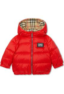 Burberry Kids Reversible Vintage Check Down-Filled Puffer Jacket - Vermelho