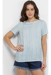 Camiseta Forum Manga Curta Listrada Feminina - Feminino-Rosa Escuro+Azul