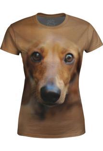 Camiseta Baby Look Basset Over Fame Marrom