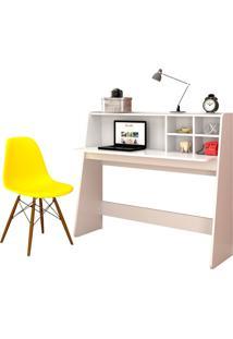 Mesa Para Computador Escrivaninha Idealle Branco E Cadeira Charles Amarela - Mpozenato