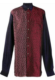 Comme Des Garçons Homme Plus Camisa Longa Com Estampa De Leopardo - Roxo
