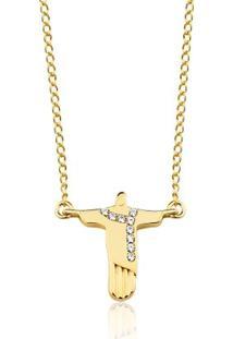 Colar Toque De Joia Cristo Redentor Ouro Amarelo - Feminino-Dourado