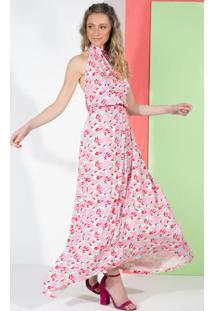Vestido Longo Folhagem Rosa Frente Única