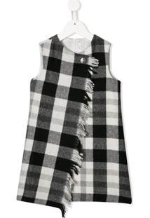 Il Gufo Vestido Assimétrico Xadrez - Preto