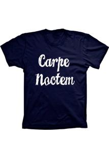Camiseta Baby Look Lu Geek Carpe Noctem Azul Marinho