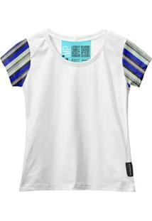 Camiseta Baby Look Feminina Algodão Listrada Manga Curta - Feminino-Branco+Cinza