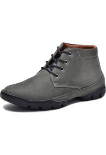 Bota Cano Curto Over Boots Couro Nobuck Cinza - Kanui