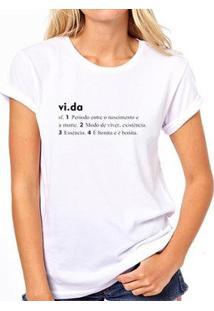 Camiseta Coolest Vida Dicionário Feminina - Feminino-Branco