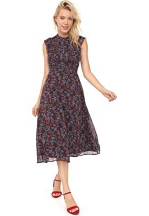 Vestido Banana Republic Midi Floral Fit-And-Flare Preto/Azul