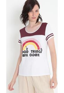 "Camiseta ""Good Things""- Branca & Vermelha- Malweemalwee"