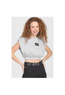 Camiseta Cropped Colcci Logo Cinza