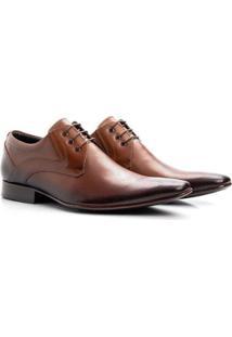 Sapato Social Masculino Couro Cadarço Confortável Moderno - Masculino-Marrom
