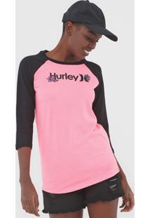 Camiseta Hurley Raglan O&O Rosa - Kanui