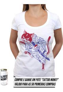 Gato Samurai - Camiseta Clássica Feminina