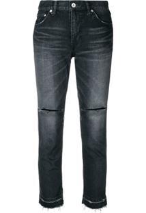 Sacai Calça Jeans Skinny Destroyed - Preto