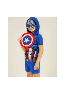 Pijama Infantil Capitão América Marvel Tam 04 A 12