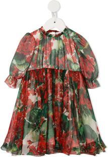 Dolce & Gabbana Kids Vestido De Festa Com Estampa Floral - Vermelho