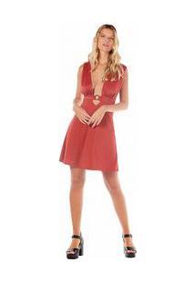 Vestido Curto Decote V Metalizado Vermelho M