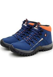 Bota Adventure Macshoes Masculina Confortável Azul/Laranja
