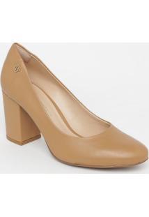 Sapato Em Couro- Bege Escuro- Salto: 6,5Cmcapodarte