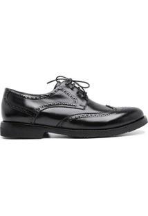 Sapato Social Couro Brogue Centuria Tamanho Especial Masculino - Masculino-Preto