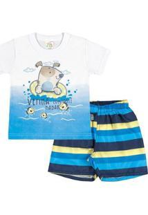 Conjunto Bebê Menino Meia Malha - Masculino-Branco+Azul