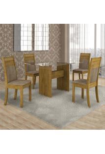 Conjunto De Mesa Com 4 Cadeiras Ravena I Suede Ypê E Marrom Claro