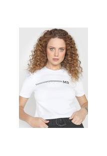 Camiseta Morena Rosa Aplicações Branca