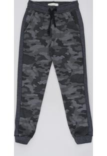 Calça Infantil Estampada Camuflada Em Moletom Com Recorte E Cordão Cinza Mescla Escuro