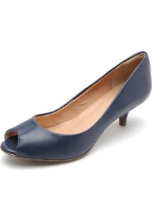 Peep Toe Polo London Club Salto Fino Azul