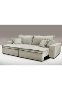 Sofa Retrátil E Reclinável Com Molas Cama Inbox Premium 2,92M Tecido Em Linho Bege Escuro